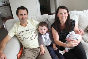 First baby of the year for Wairarapa, featuring Annabelle (right) with her mother Sarah Kirton, beside Sam, 3, and husband Richard Kirton