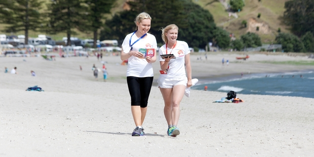Locals Courtney McMahon (left), 22, and Jess King, 20, scored highly sought-after positions as Summer Ambassadors. Photo / Andrew Warner