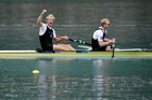 New Zealand's Hamish Bond, right, and Eric Murray celebrate after winning the men's pair during the 2015 World Rowing Championships. Photo / AP