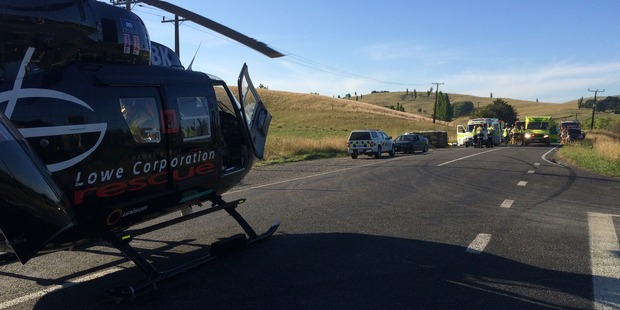 Two rescue helicopters were sent to the scene. Photo / Supplied