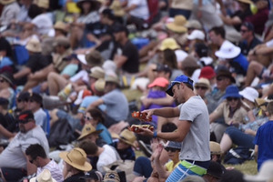 A cricket fan navigates his way through the crowd at the Bay Oval today. Photo/George Novak