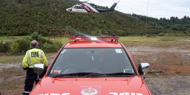 The Northland Electricity rescue helicopter takes a man who got into trouble at Kai Iwi Lakes to hospital after he was rescued by a group of campers.