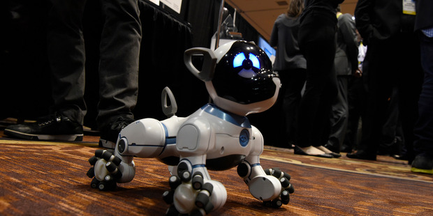 The WowWee CHiP robot dog is seen at the CES show. Photo / Bloomberg