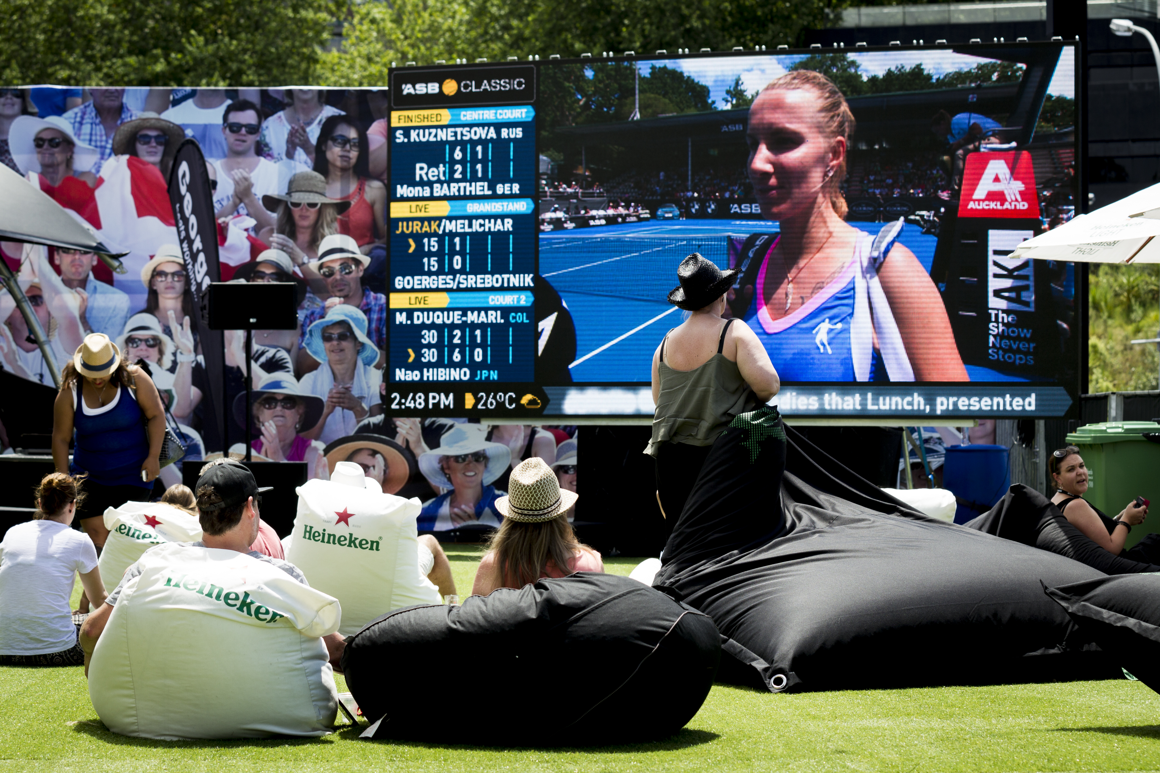 Fan zone during day one of the ASB Tennis Classic. Photo / Dean Purcell