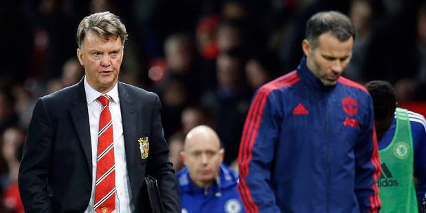 Manchester United's manager Louis van Gaal, left, and his assistant Ryan Giggs. Photo / AP