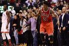 Jimmy Butler celebrates as he torches the Toronto Raptors. Photo / AP