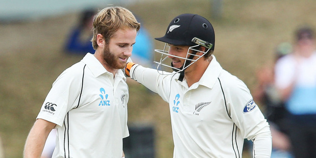 Kane Williamson and BJ Watling put on 365 to set the test record for the sixth partnership, a record broken overnight. Photo / Getty