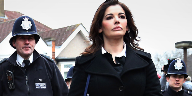 Nigella Lawson arrives at Isleworth Crown Court. Photo / Getty Images