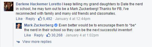 A grandmother was stunned to get a response from the Facebook tycoon. Photo / Facebook
