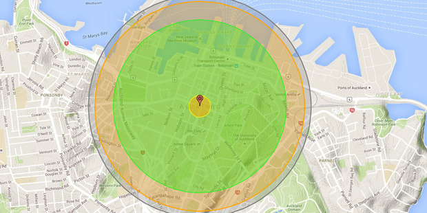The effects of a 6kt device - the one North Korea has tested - detonated above Auckland. Photo / Nukemap