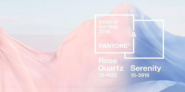 Pantone's two 2016 colours of the year: Rose Quartz and Serenity.