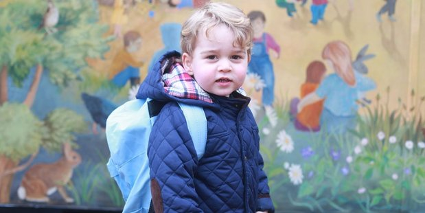 Prince George arrives for his first day at nursery in Norfolk. Photo / Kensington Palace Twitter