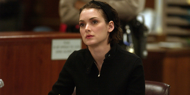 Winona Ryder listens to arguments during the sentencing phase of her shoplifting trial. Photo / Getty Images