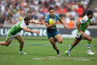 Shaun Johnson in action against the Canberra Raiders at last year's NRL Nines. Photo / Brett Phibbs