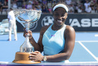 Sloane Stephens with the ASB Classic trophy. Photo / Michael Craig