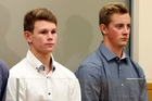Matthew McKenzie, 19, Dylan Christie, 19 and Ethan Poole, 19, in Whangarei District Court yesterday. Photo / John Stone