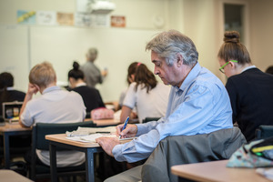 Writer Lawrence Watt attends Weymond Fong's Mathematics class at ACG College in Parnell. Pic Ted Baghurst
