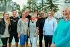 Christine Parnell (foreground right) with Emma Sharplin (left), Carlos Delgado, Megan Sharplin, Vern Sharplin, Margaret Evans, Lisa Cave, Cam Parnell and Fiona Evans. PHOTO/Warren Buckland