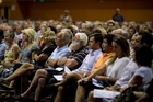 Eastern suburbs residents at a meeting in February where rezoning was voted down. Photo / Dean Purcell