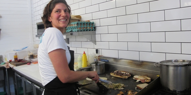 DINER DELICACIES: Eat owner and grill chef Dawn Harallambi brings Philly cheese steaks and other American staples to Ohakune.PHOTO/LIN FERGUSON