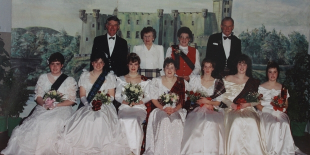 To celebrate their silver jubilee in 1994, the Southern Hawke's Bay Scottish Society held a debutante ball in the town hall. Back, Scottish Society patron Maurice Millar, left, and his wife Rhetta and Glennis and Ian McDonald.