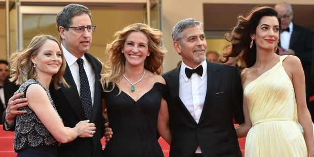 US director Jodie Foster with the Tom Rothman, Julia Roberts, George Clooney and Amal Clooney. Photo / AFP