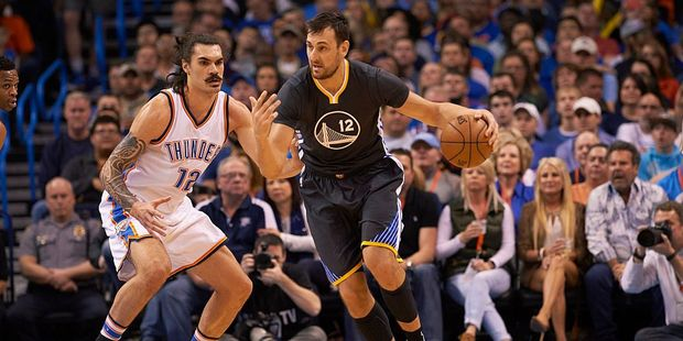 Loading New Zealander Steven Adams and Australian Andrew Bogut will match up against each other in the NBA's Western Conference Finals. Photo / Getty