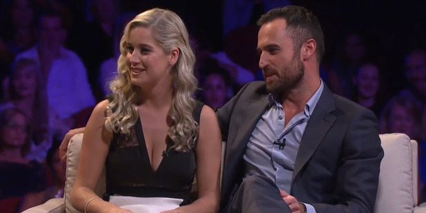 Fleur and Jordan during the 'Women Tell All' episode of The Bachelor NZ.