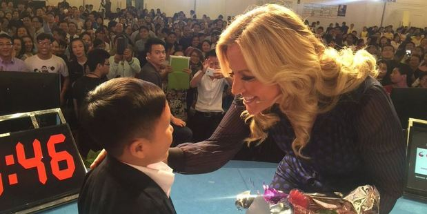 British lingerie magnate Michelle Mone has told of her embarrassment after lifting up a man she mistook for a 6-year-old boy. Photo / Twitter@MichelleMone