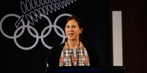 Chantal Brunner speaks during the New Zealand Olympic Committee Annual General Meeting. Photo / Getty Images
