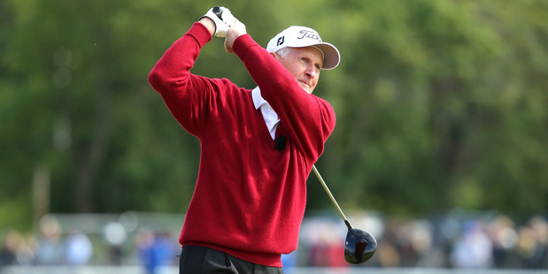 Sir Bob Charles tees off during the Champion Golfers' Challenge. Photo / Getty Images