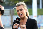 TV presenter Laura McGoldrick during the Georgie Pie Super Smash Final. Photo / Getty Images