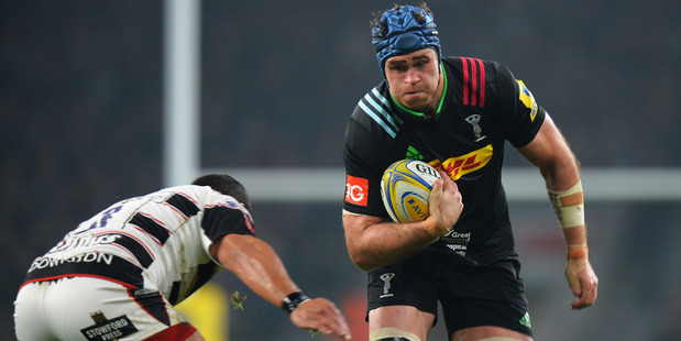 Former Wallabies captain James Horwill on the charge for Harlequins against Gloucester at Twickenham. Photo / Getty Images
