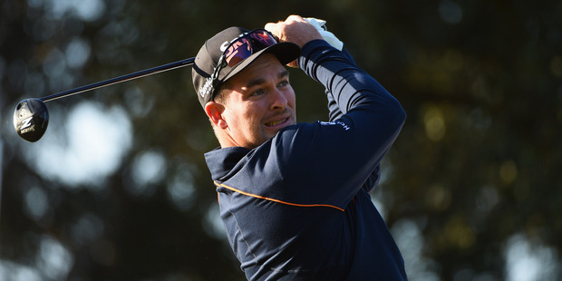 Ryan Fox tees off during the Open de Espana at Real Club Valderrama. Photo / Getty Images