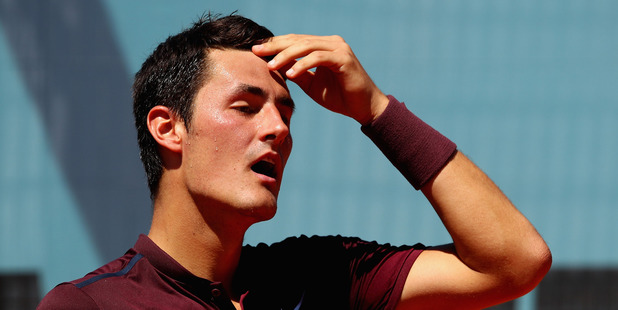 Bernard Tomic of Australia shows his dejection against Fabio Fognini. Photo / Getty Images