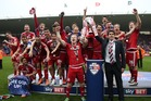 Middlesbrough celebrate their promotion to the English Premier League for the first time in six years following a 1-1 draw with Brighton on Sunday morning (NZT). Photo / Getty Images