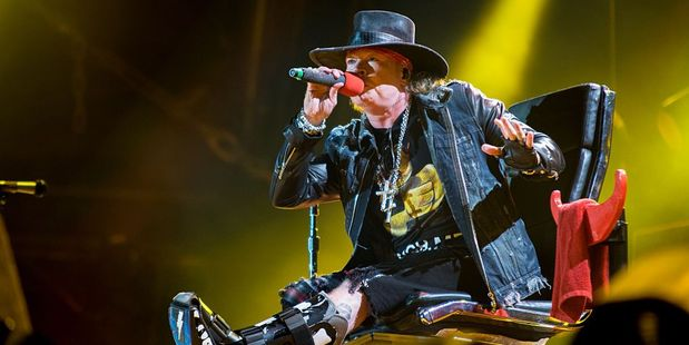 Axl Rose performs with AC/DC on the first concert of the Rock or Bust tour at the Passeio Maritimo De Alges in Lisbon, Portugal. Photo / Getty Images