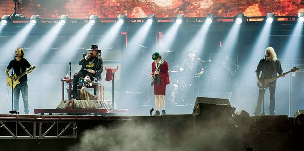 Axl Rose perfoms with Stevie Young, Angus Young and Cliff Williams of AC/DC on the opening night of Rock or Bust Tour. Photo / Getty Images