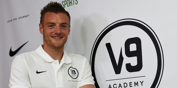 Jamie Vardy at the launch of his V9 Academy on Tuesday (NZT). Photo / Getty Images