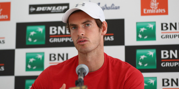 Andy Murray talks to media during day three of The Internazionali BNL d'Italia. Photo / Getty Images