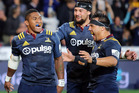 Waisake Naholo of the Highlanders celebrates his try during the round twelve Super Rugby match between the Highlanders and Crusaders. Photo / Getty Images.