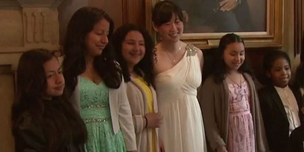 Yuri Sun turned her cancelled nuptials into a fairy tale for others in need. Photo / CBS New York