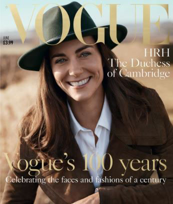 Kate on the cover of British Vogue. Photo / Vogue