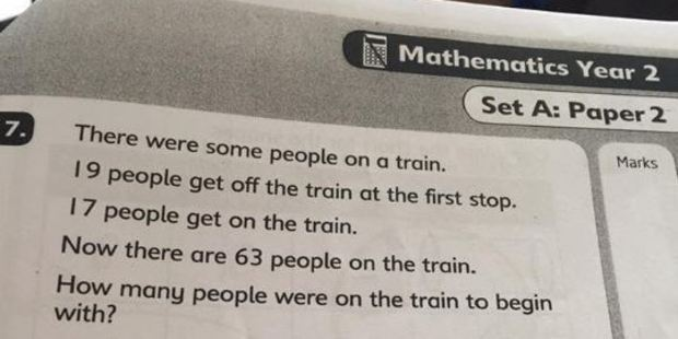 Intended for 6-year-olds, this maths equation is beyond many adults. Photo / Twitter, Louise Bloxham