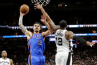 Roto-vegas rocket Steven Adams delivers for the Thunder. Photo / AP
