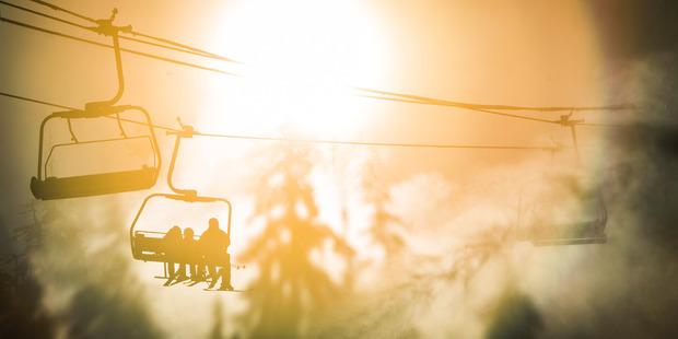 Skiers on Whistler mountain.