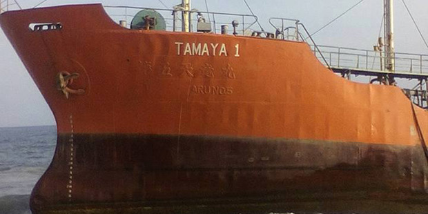 The Tamaya 1 tanker washed up on the shore at Robertsport, Liberia. Photo / Facebook