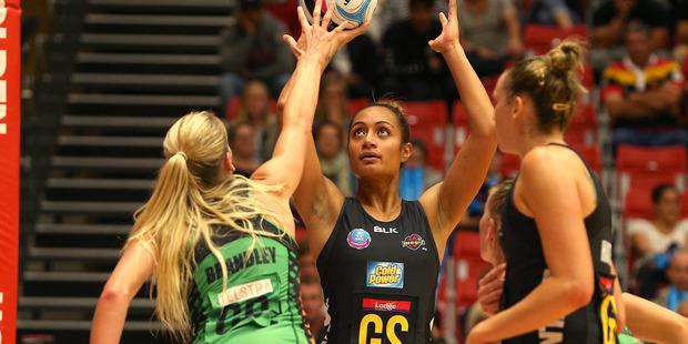 Waikato Bay of Plenty Magic vs West Coast Fever, played at the ASB Arena Tauranga. Magic player Malia Paseka focuses on her goal. Photo/John Borren