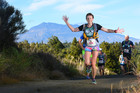 The Central Plateau Trail marathon women's winner Sue Crowley powering her way along the course. Photo / Allan Ure