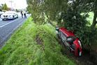 A car has crashed into a drain on Vale St. Photo/John Borren
